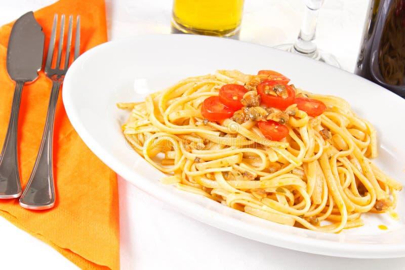 Spaghetti dei molluschi fotografia stock