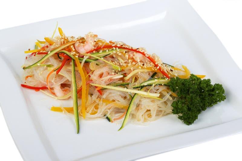 Spaghetti del riso sbramato fotografie stock