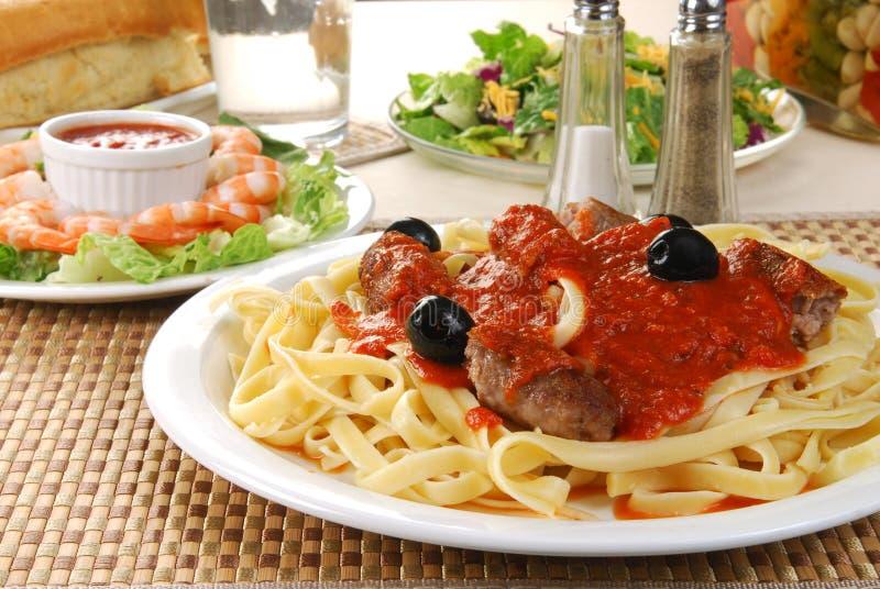 Spaghetti dinner. A fancy Italian spaghetti dinner stock images