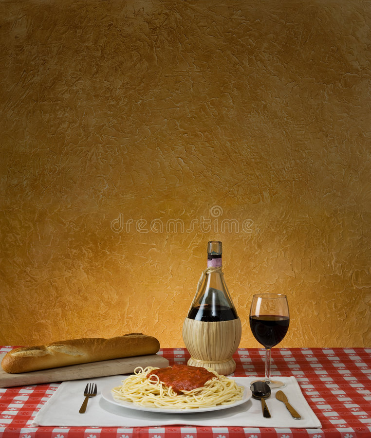 Download Spaghetti Dinner stock image. Image of rustic, loaf, dinner - 7591811