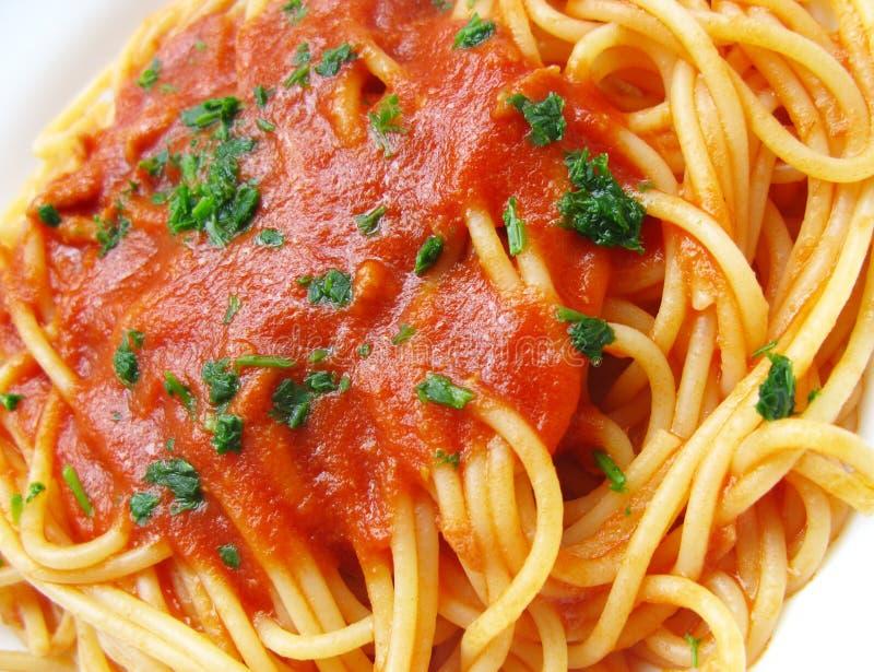 Spaghetti dish. Italian spaghetti with tomato and parsley royalty free stock photography