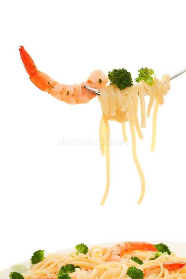 Spaghetti e gambero immagini stock libere da diritti