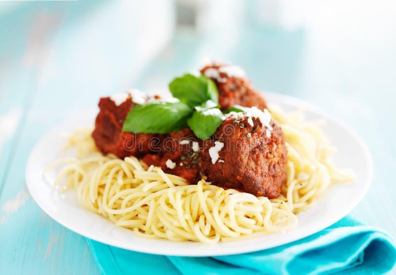 Spaghetti e polpette fotografia stock