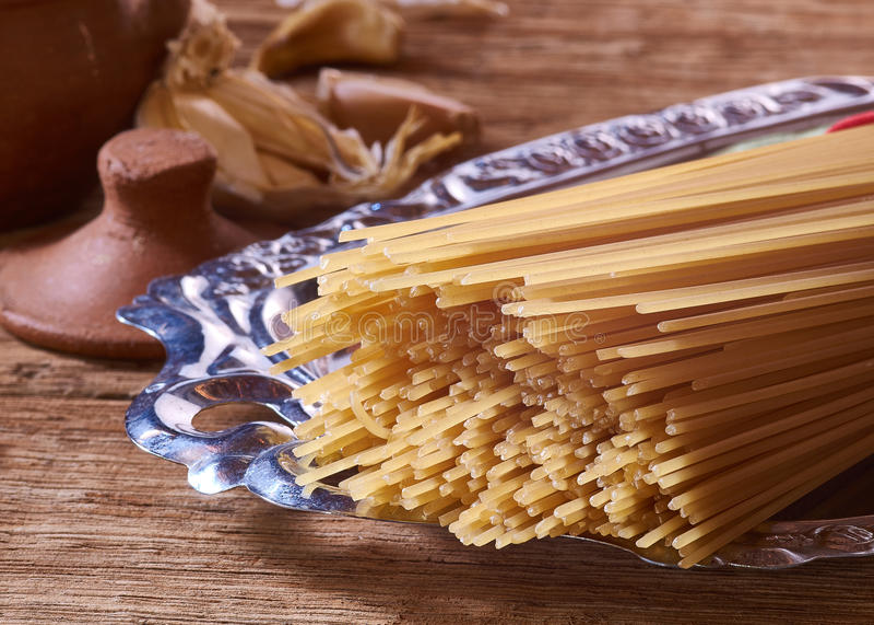 Spaghetti en Knoflook royalty-vrije stock foto
