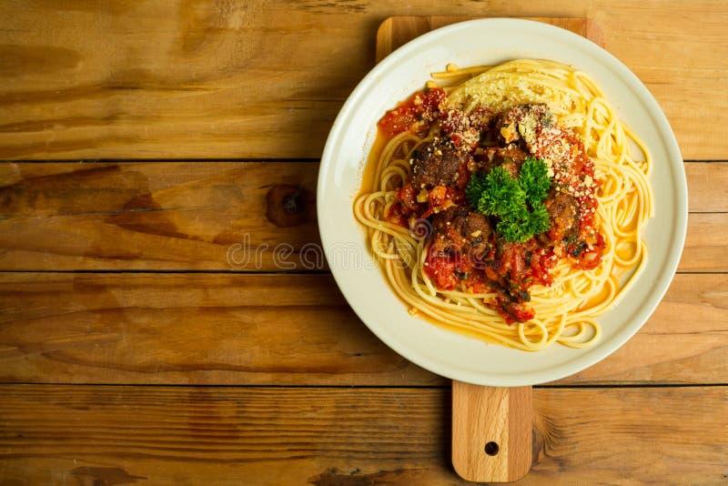 Spaghetti en Vleesballetjes stock afbeelding