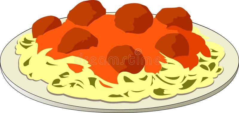 Spaghetti et boulettes de viande illustration de vecteur