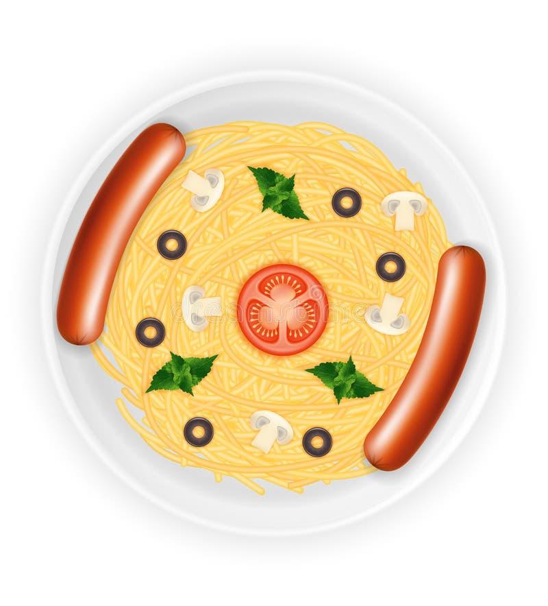 Spaghetti et saucisses cuits de pâtes de macaronis d'un plat avec l'illustration courante de vecteur de légumes illustration stock