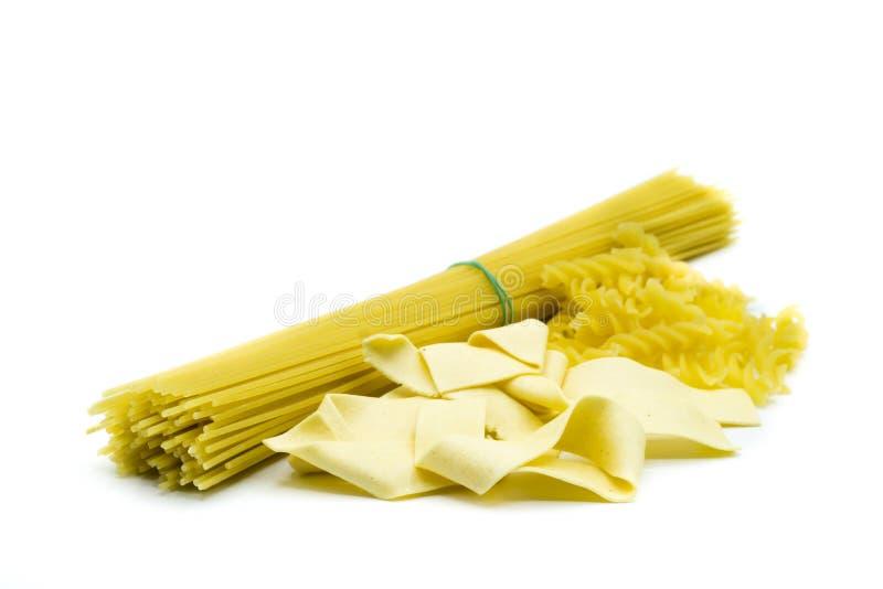 Spaghetti fettuccine spirelli Various pasta isolated on white background stock photos