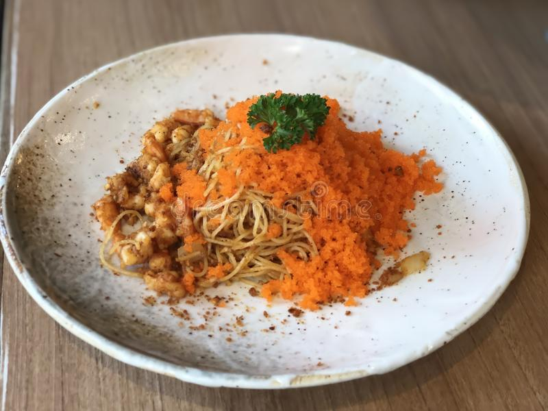 SPAGHETTI with fish roe stock photography