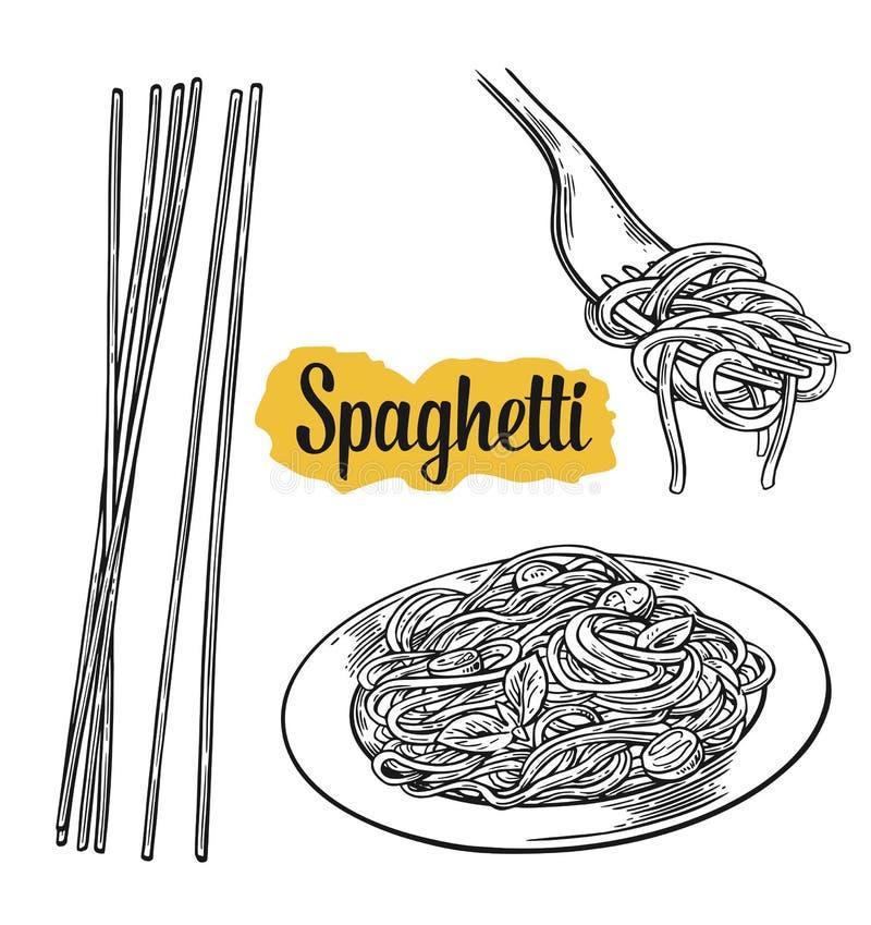 Spaghetti on fork and plate. Vector vintage black illustration on white background stock illustration