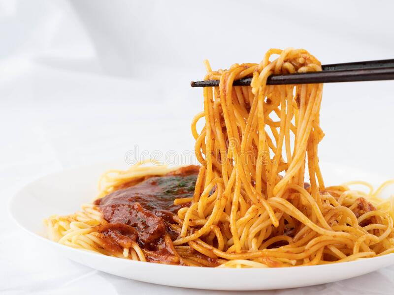 Spaghetti on a fork. royalty free stock photo