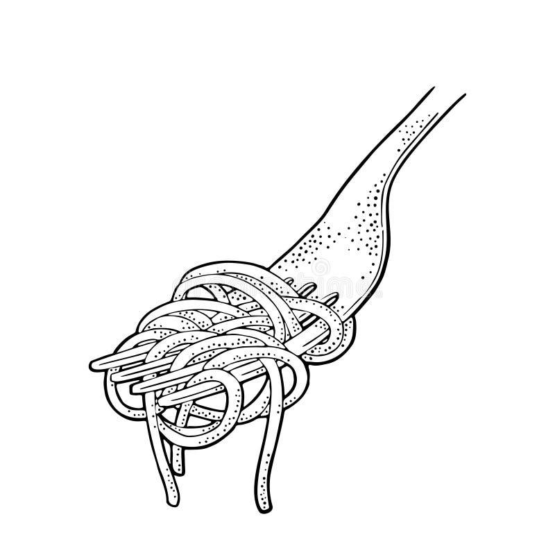 Spaghetti on fork. Vector vintage engraving black illustration isolated on white background. vector illustration