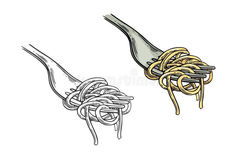 Spaghetti on fork. Vector vintage engraving color and black illustration vector illustration