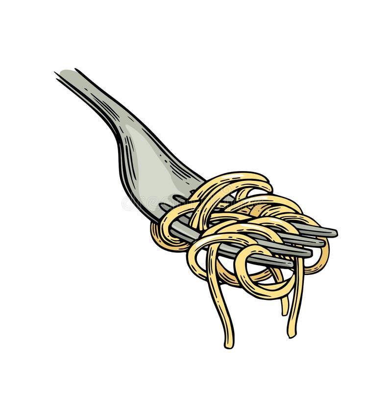 Spaghetti on fork. Vector vintage engraving stock illustration