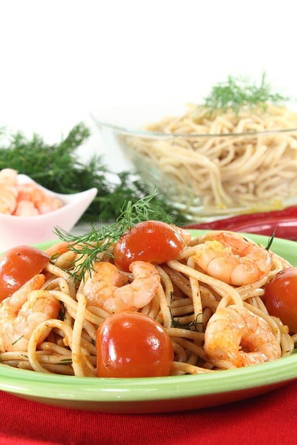 Spaghetti With Fresh Shrimp Royalty Free Stock Image
