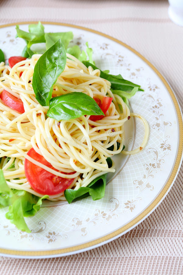 Download Spaghetti With Fresh Vegetables And Herbs Stock Photo - Image: 33818332