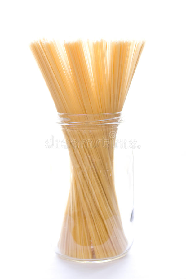 Spaghetti in glass jar royalty free stock images