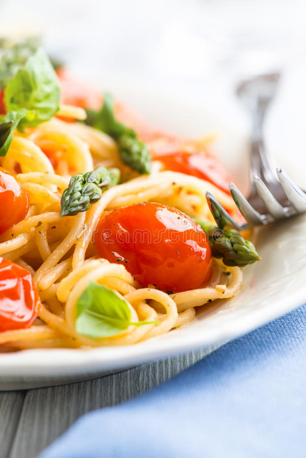Spaghetti with Green Asparagus stock photo