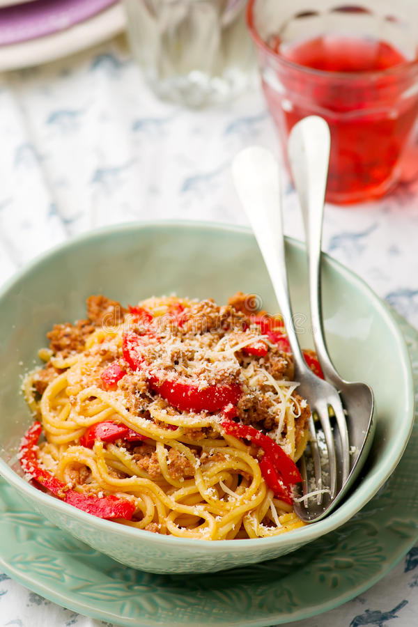 Spaghetti with ground meat and pepper. Spaghetti with ground meay and sweet pepper.selective focus stock photo