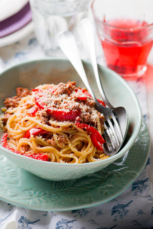 Spaghetti with ground meat and pepper. Spaghetti with ground meay and sweet pepper.selective focus royalty free stock photo