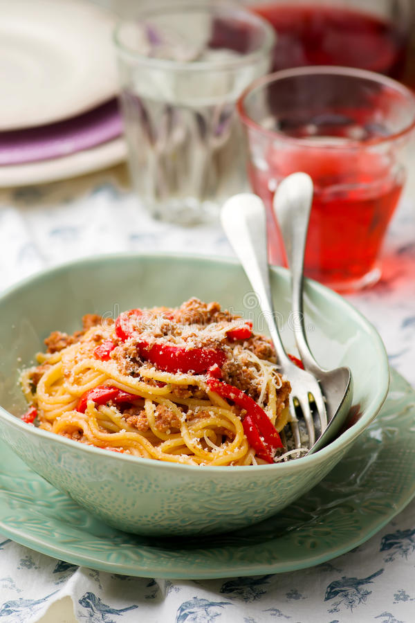 Spaghetti with ground meat and pepper. Spaghetti with ground meay and sweet pepper.selective focus royalty free stock images