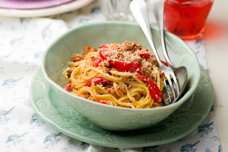Spaghetti with ground meat and pepper. Spaghetti with ground meay and sweet pepper.selective focus royalty free stock photography