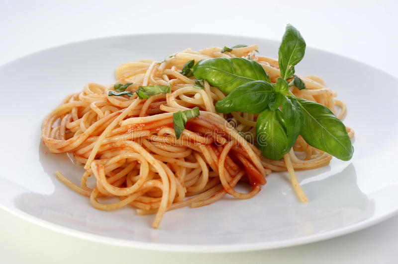 Spaghetti with home made tomato sauce stock images