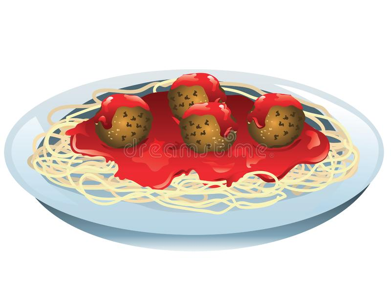 Spaghetti i klopsiki royalty ilustracja