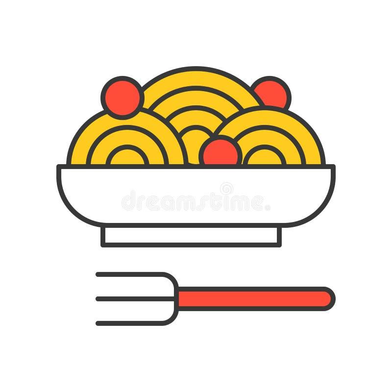 Spaghetti i klopsiki, jedzenie set, wypełniająca kontur ikona ilustracja wektor