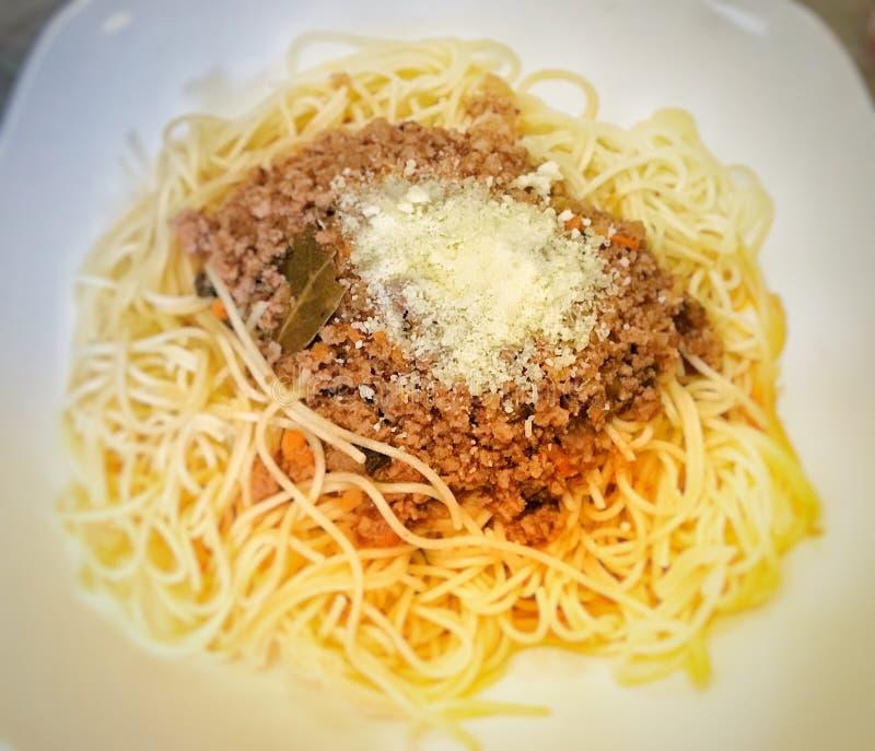 Spaghetti i kumberland zdjęcie royalty free