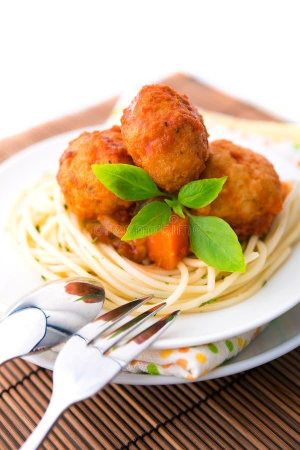 Spaghetti i mięsna piłka fotografia royalty free