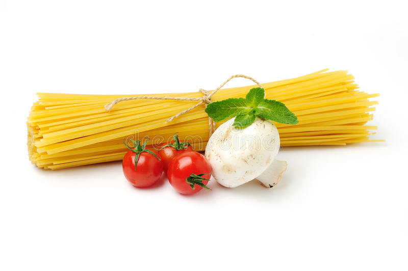 Download Spaghetti With Ingridients On White Stock Image - Image of object, group: 23988521