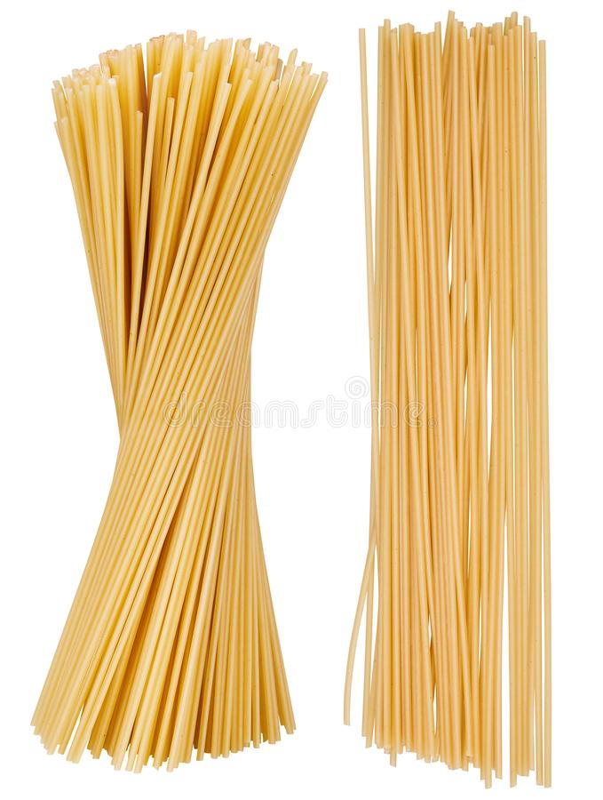 Yellow sheaf raw long pasta, ready for cooking. stock images