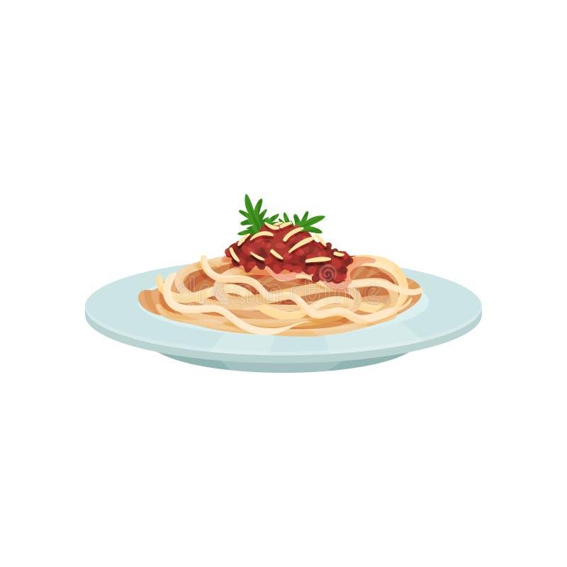 Spaghetti makaron z kumberlandem, Włoska kuchnia wektoru ilustracja royalty ilustracja