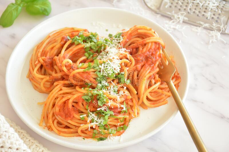 Spaghetti Marinara home cooking stock photo