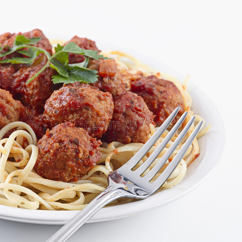 Spaghetti and meat balls stock images