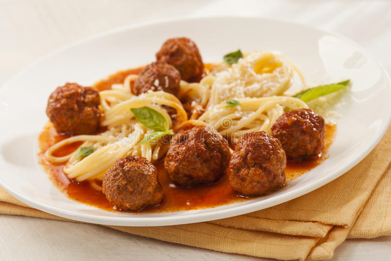 Spaghetti with meatballs royalty free stock photography