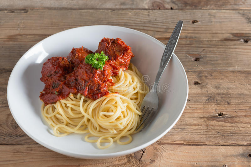 Spaghetti and Meatballs in plate. royalty free stock photo