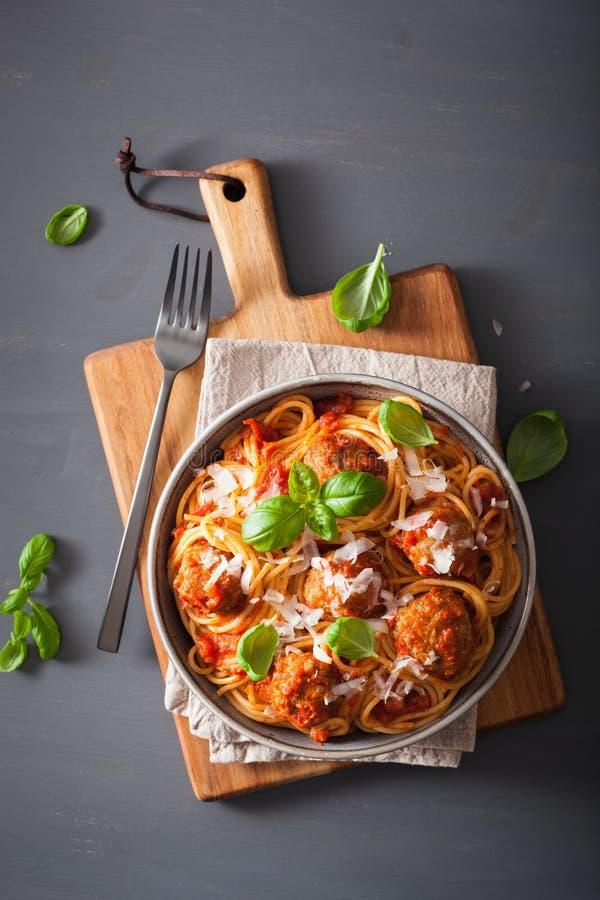 Spaghetti with meatballs and tomato sauce, italian pasta stock photography