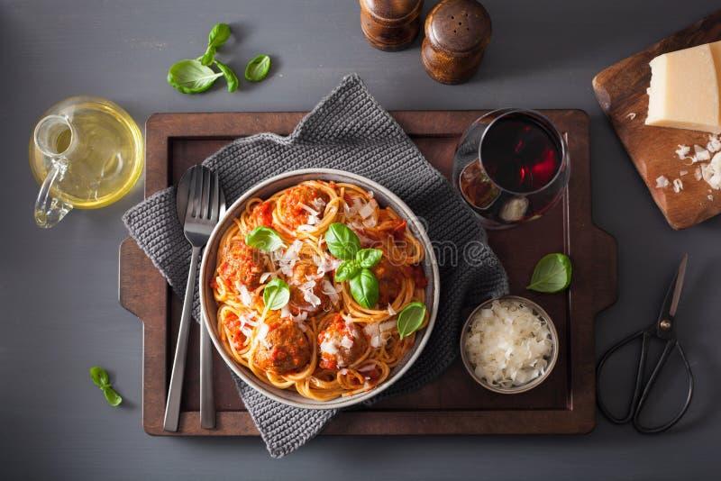 Spaghetti with meatballs and tomato sauce, italian pasta stock image