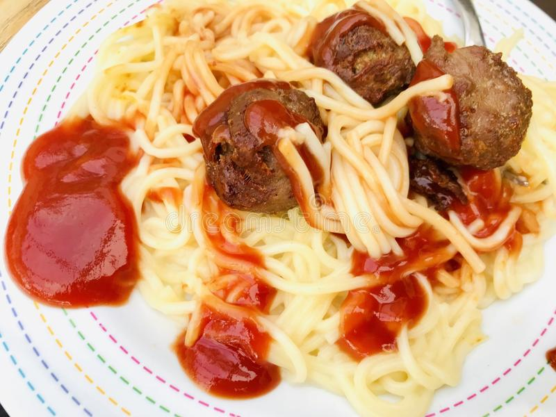 Spaghetti with meatballs stock photography