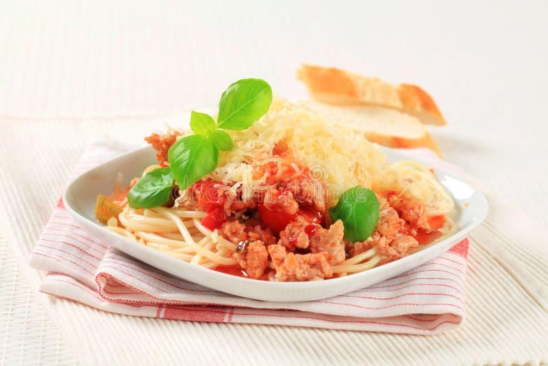 Spaghetti met gehakt en kaas royalty-vrije stock afbeelding