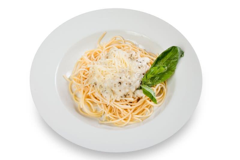 Spaghetti met kaas stock afbeeldingen