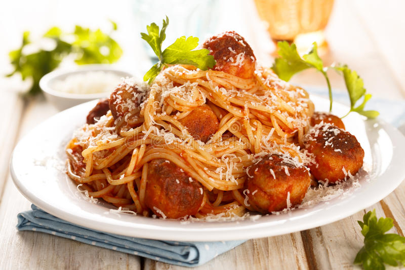 Spaghetti met vleesballetjes royalty-vrije stock foto