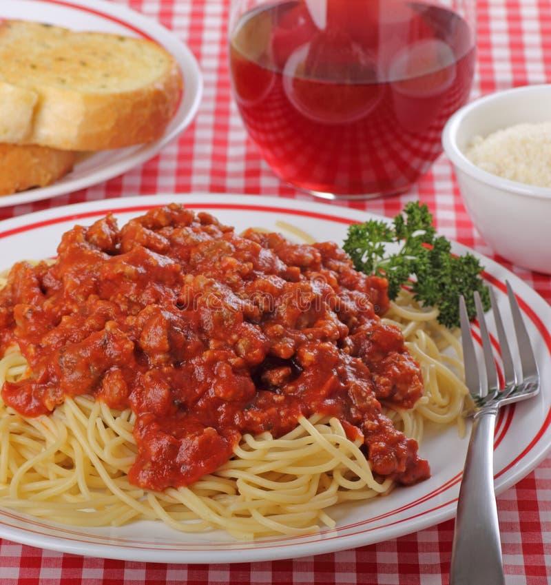 De Saus van de spaghetti en van het Vlees stock foto's