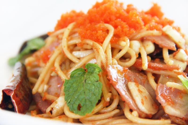 Spaghetti met worst royalty-vrije stock afbeelding