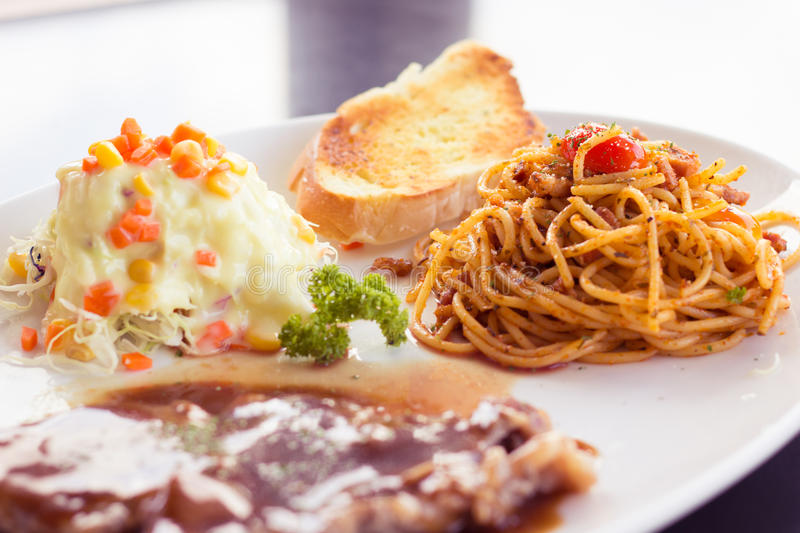 Spaghetti in my lunch. This is my lunch Its make me happy stock photo