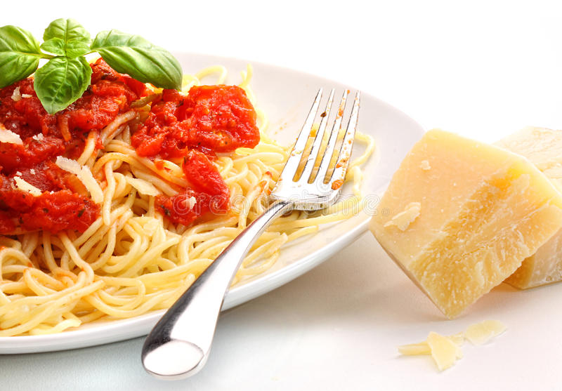 Spaghetti noodles with homemade tomato sauce stock photos