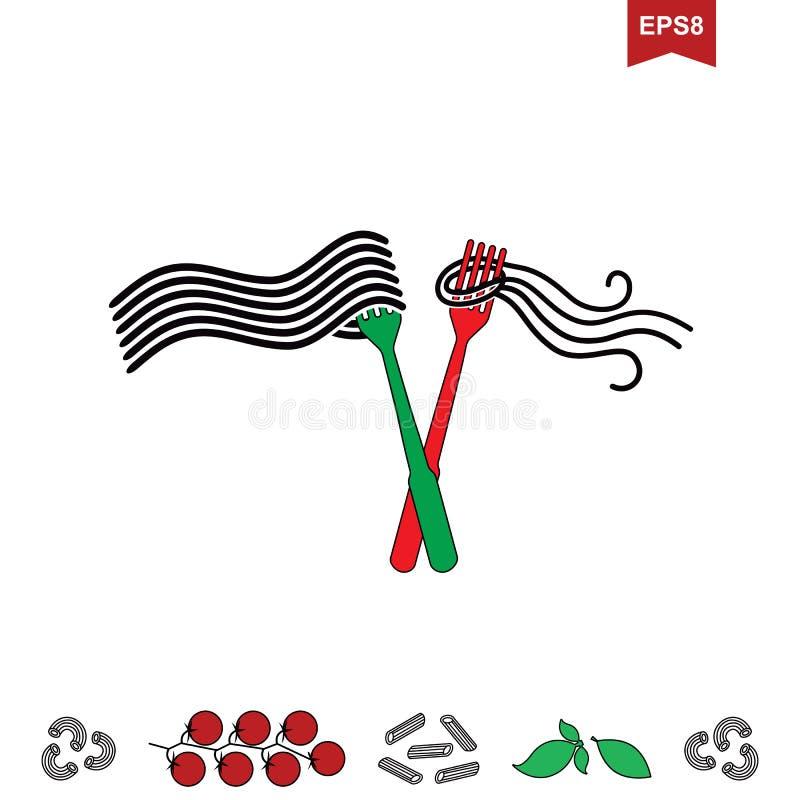 Spaghetti- oder Nudelikone lizenzfreie abbildung