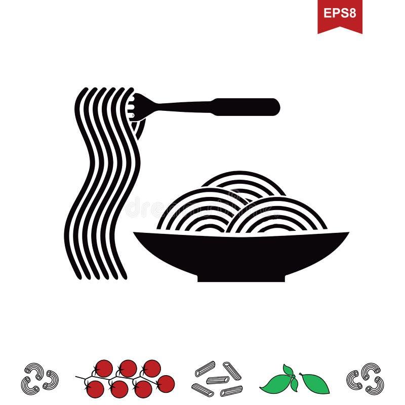 Spaghetti- oder Nudelikone vektor abbildung